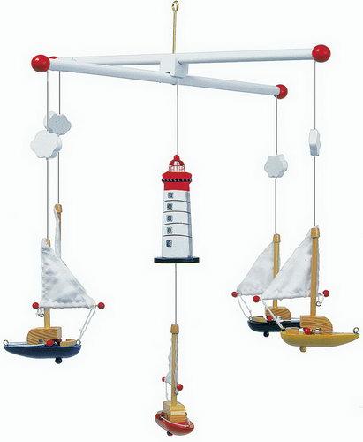 Mobile  Segelboote<br>mit Leuchtturm